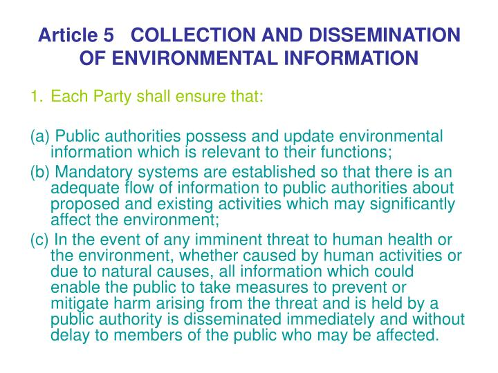 Article 5   COLLECTION AND DISSEMINATION OF ENVIRONMENTAL INFORMATION