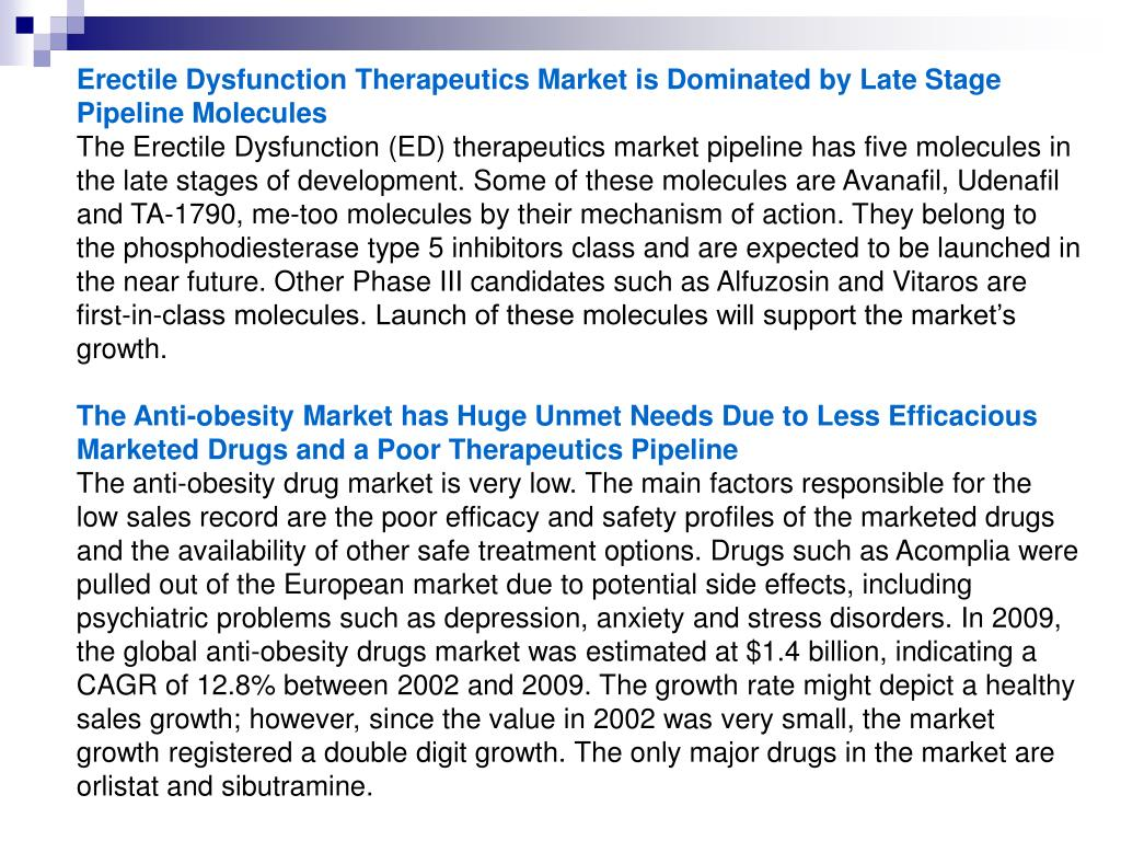 Erectile Dysfunction Therapeutics Market is Dominated by Late Stage