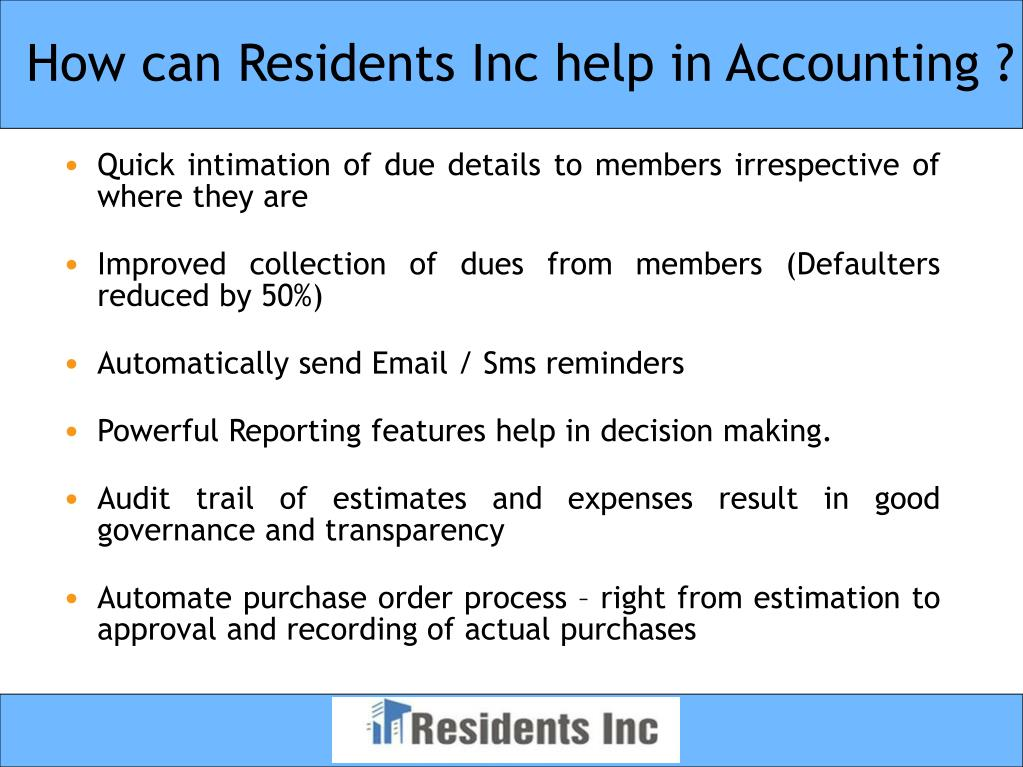 How can Residents Inc help in Accounting ?