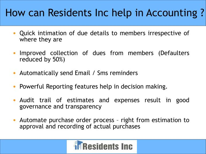 How can residents inc help in accounting