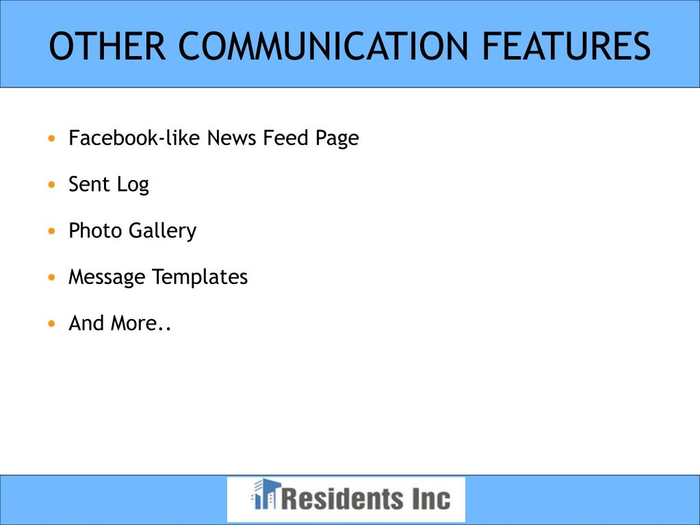 OTHER COMMUNICATION FEATURES