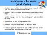 maintenance requests work order