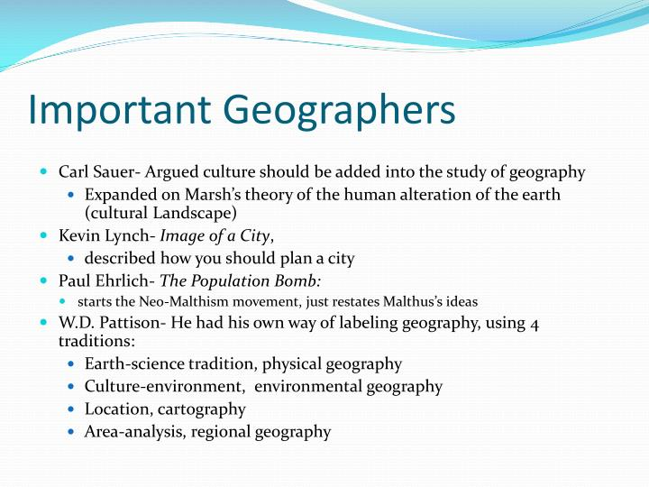 Important Geographers