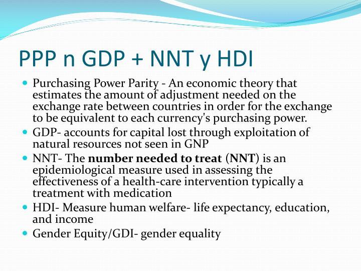 PPP n GDP + NNT y HDI