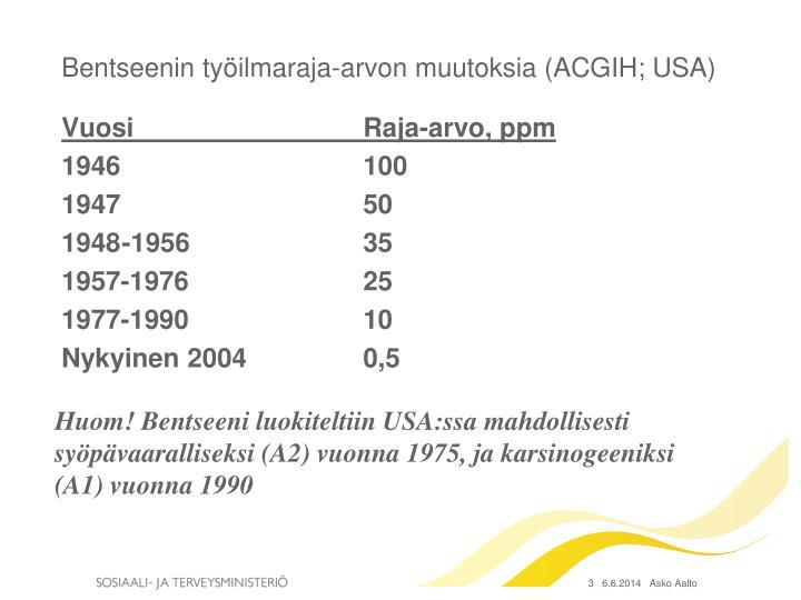 Bentseenin työilmaraja-arvon muutoksia (ACGIH; USA)