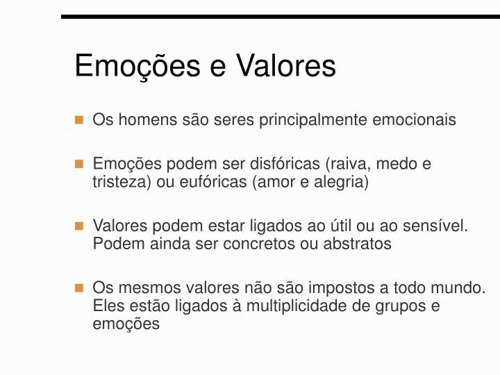 Emoções e Valores
