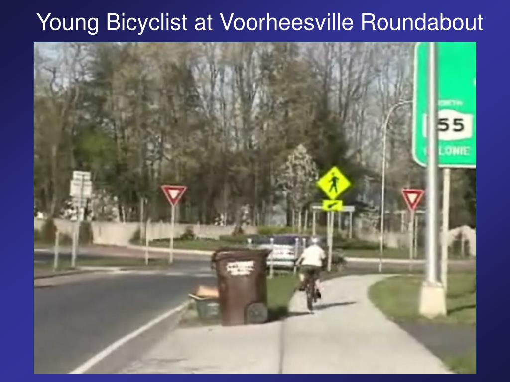 Young Bicyclist at Voorheesville Roundabout