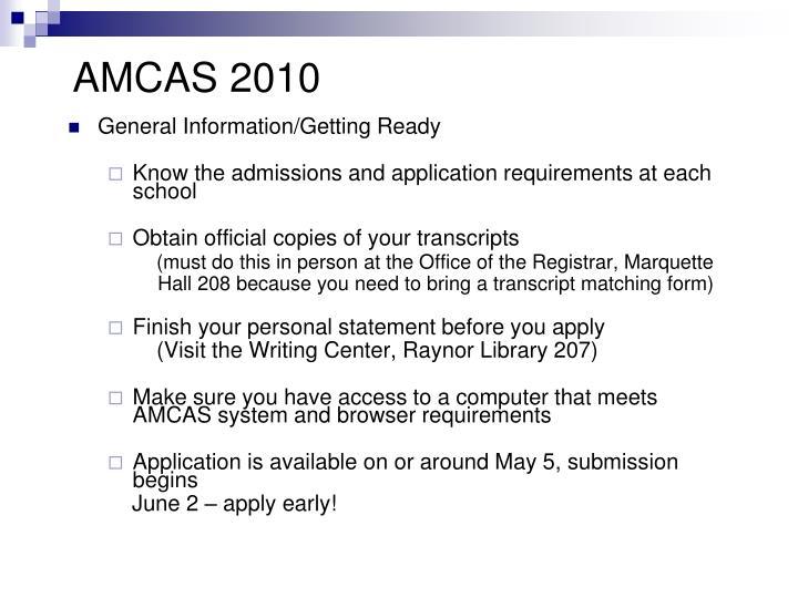 AMCAS 2010