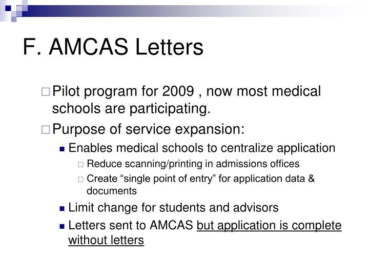 F. AMCAS Letters