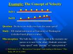 example the concept of velocity
