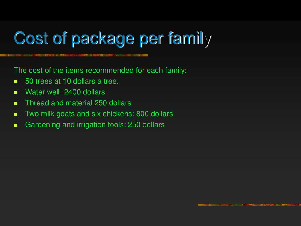 Cost of package per famil