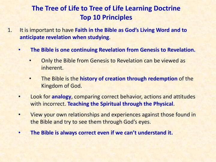 The tree of life to tree of life learning doctrine top 10 principles
