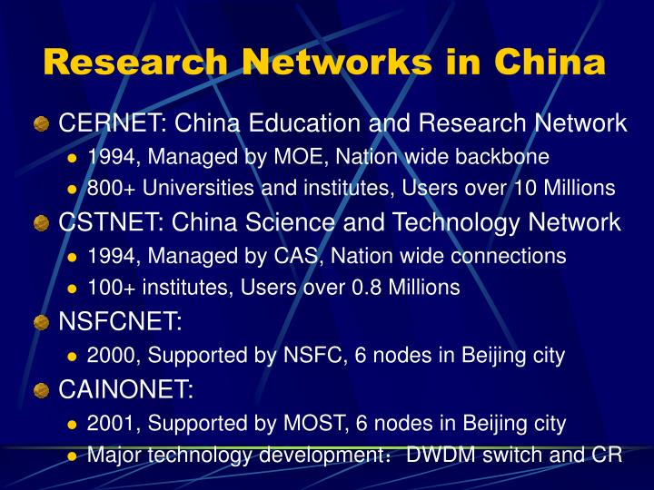 Research Networks in China