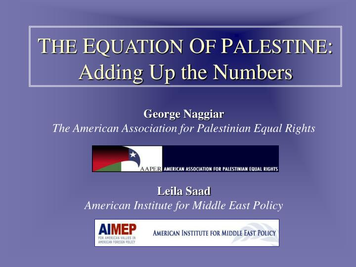 T he e quation o f p alestine adding up the numbers