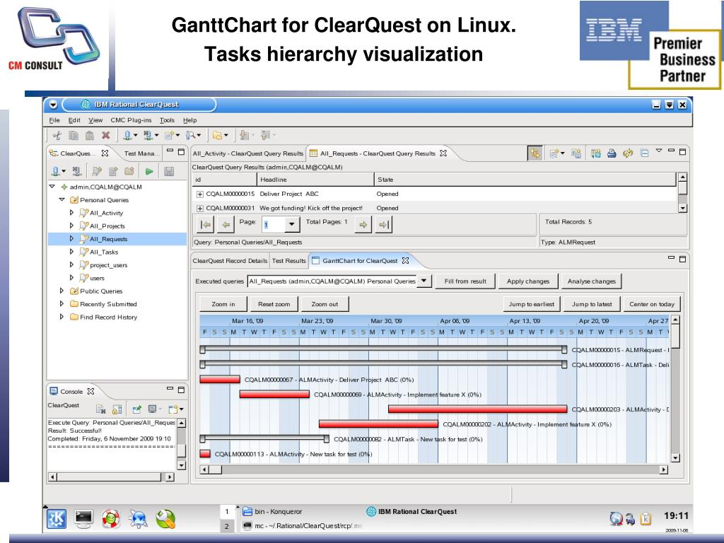 GanttChart for ClearQuest on Linux.