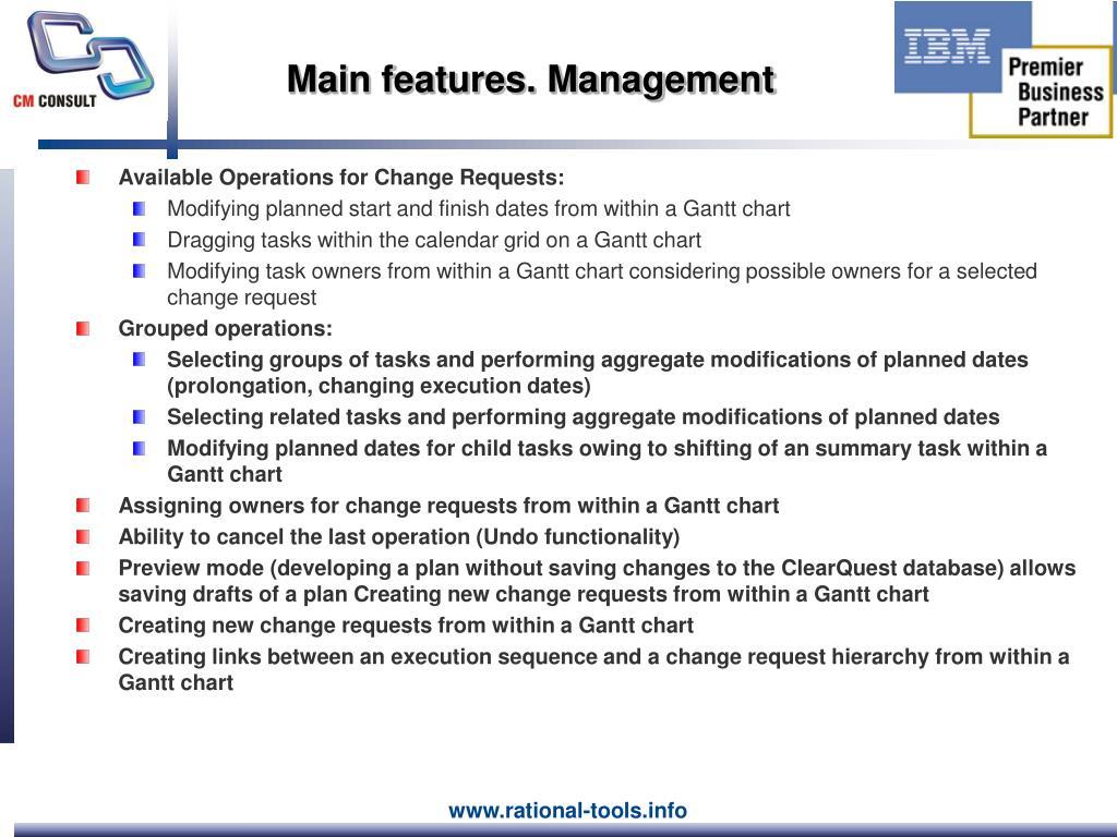 Main features. Management
