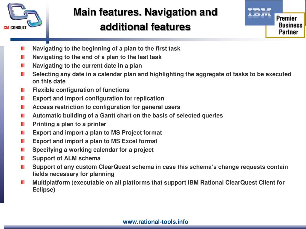 Main features. Navigation and additional features
