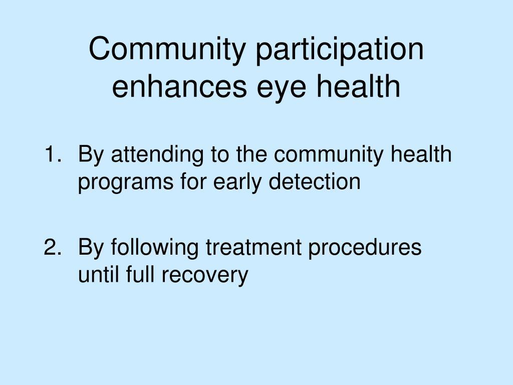 Community participation enhances eye health