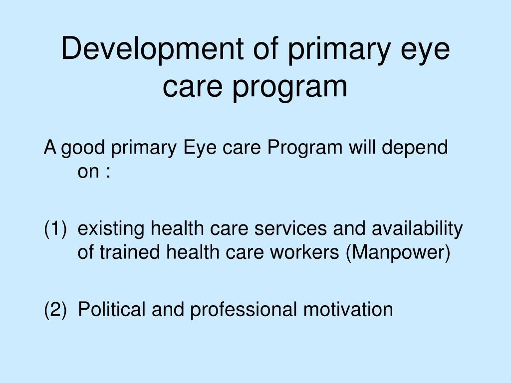 Development of primary eye care program