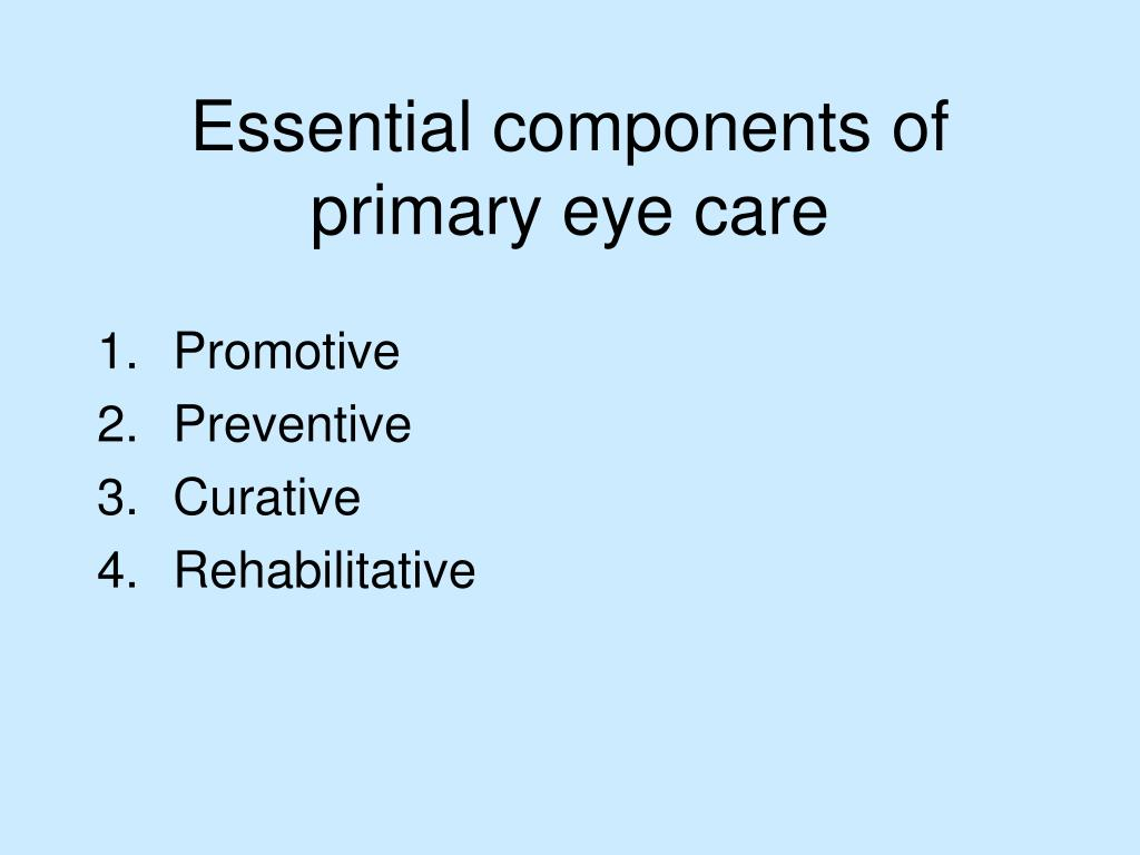 Essential components of primary eye care