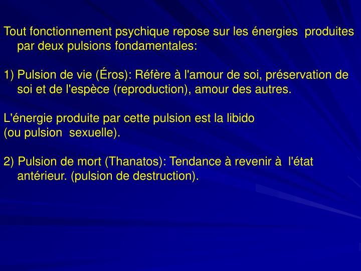 Tout fonctionnement psychique repose sur les énergies  produites par deux pulsions fondamentales: