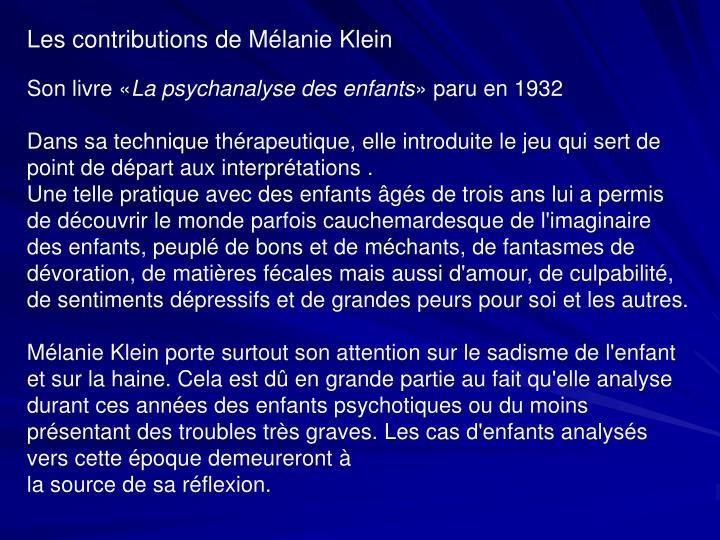 Les contributions de Mélanie Klein