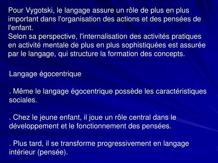 Pour Vygotski, le langage assure un rôle de plus en plus important dans l'organisation des actions et des pensées de l'enfant.