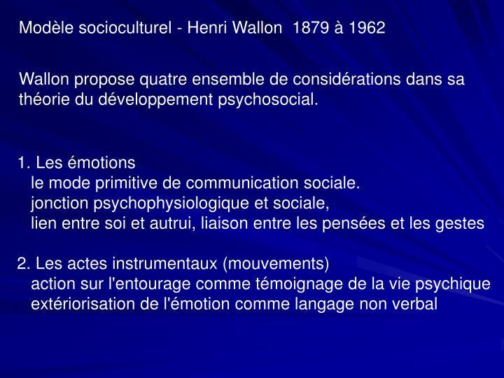 Modèle socioculturel - Henri Wallon  1879 à 1962