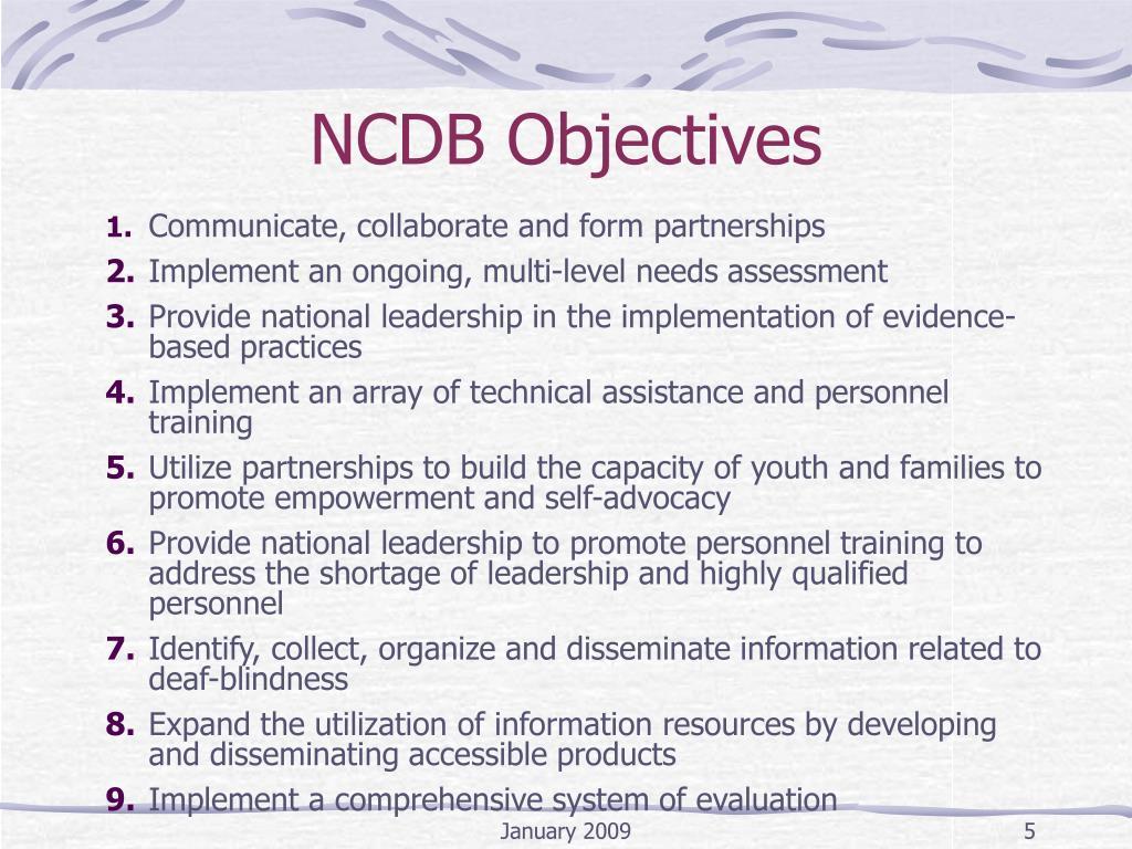 NCDB Objectives