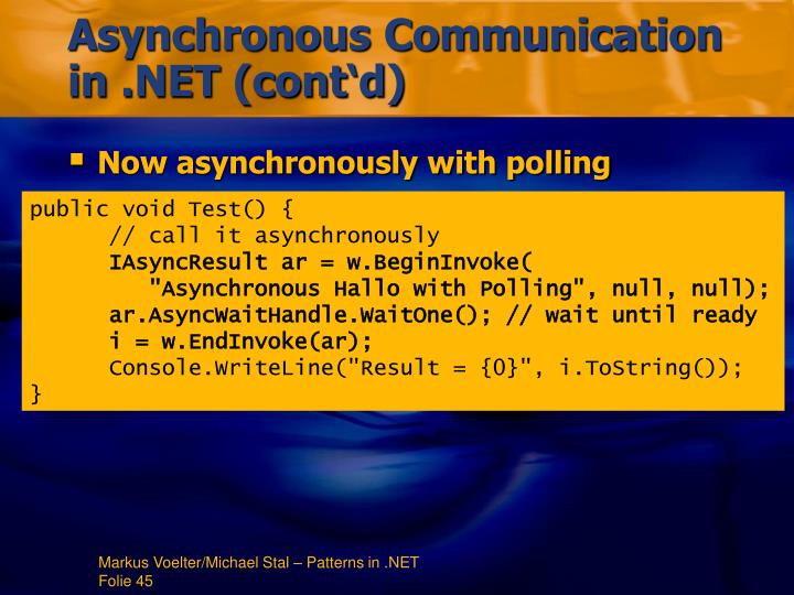 Asynchronous Communication in .NET (cont'd)