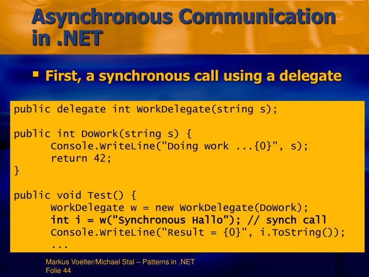 Asynchronous Communication in .NET