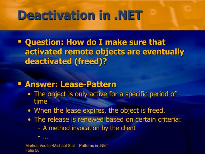 Deactivation in .NET