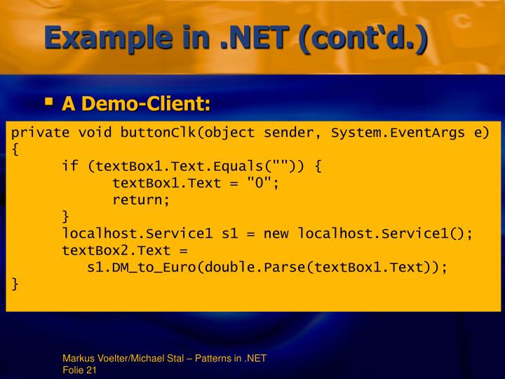 Example in .NET (cont'd.)