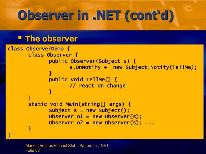 Observer in .NET (cont'd)
