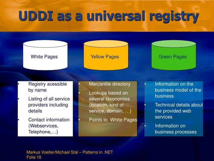 UDDI as a universal registry