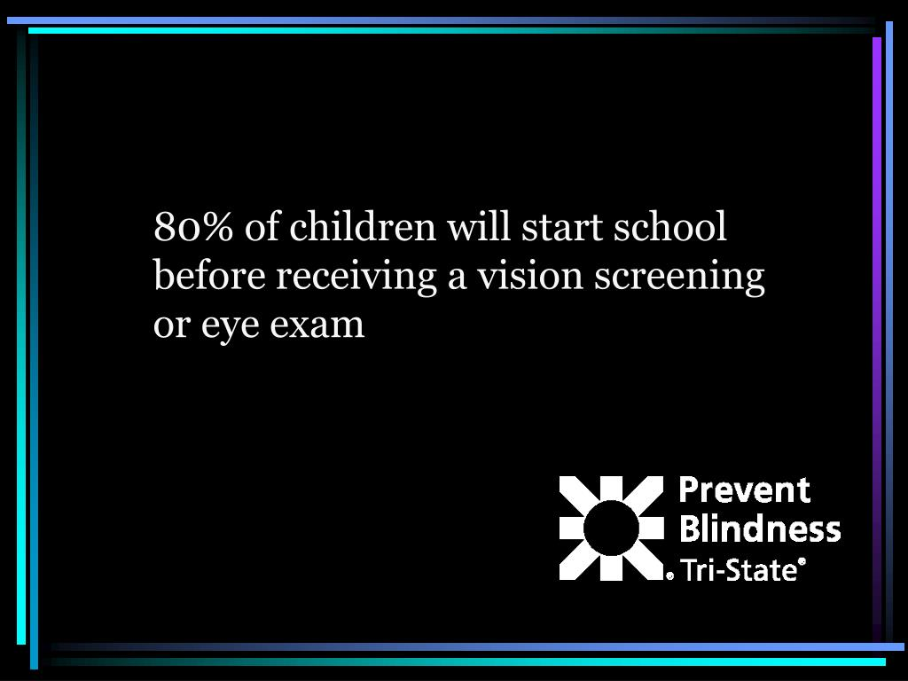 80% of children will start school before receiving a vision screening or eye exam
