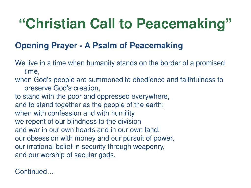 """""""Christian Call to Peacemaking"""""""