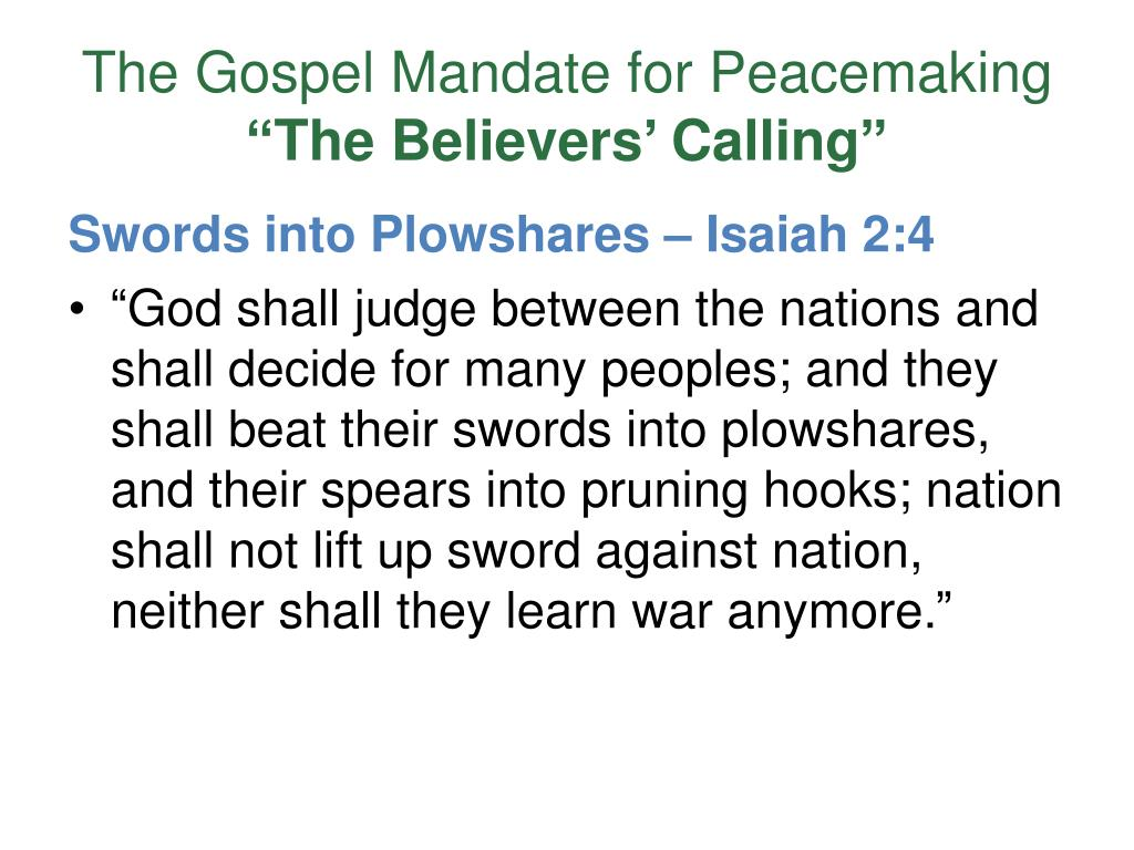 The Gospel Mandate for Peacemaking