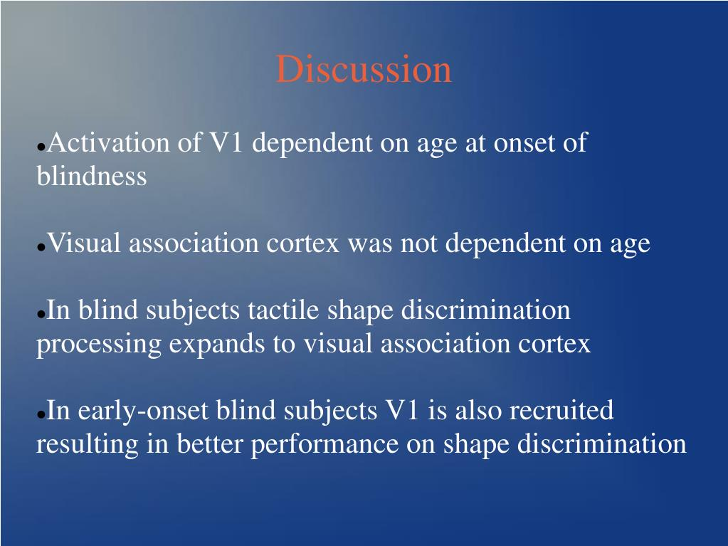 Activation of V1 dependent on age at onset of blindness