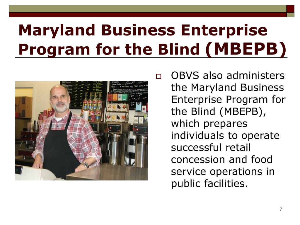 Maryland Business Enterprise Program for the Blind