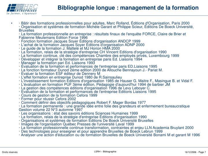 Bibliographie longue : management de la formation