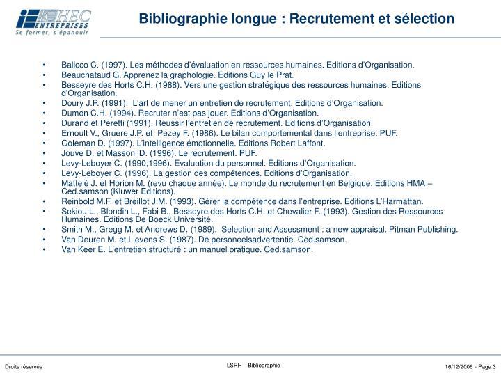 Bibliographie longue : Recrutement et sélection