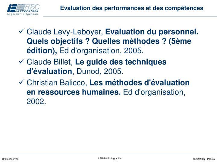 Evaluation des performances et des compétences
