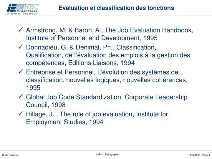 Evaluation et classification des fonctions