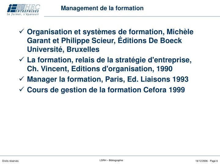 Management de la formation