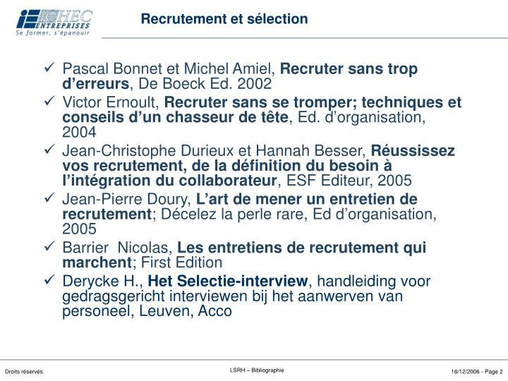 Recrutement et sélection
