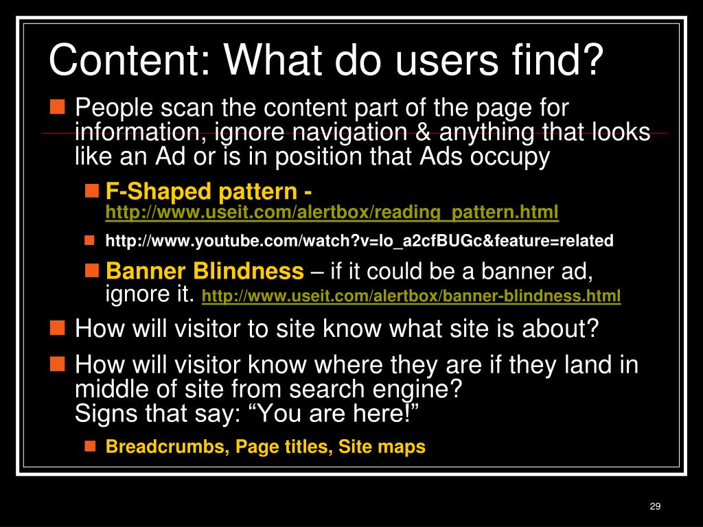 Content: What do users find?