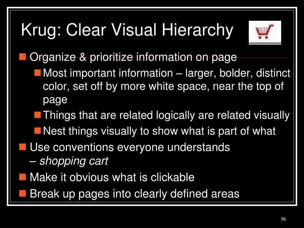 Krug: Clear Visual Hierarchy