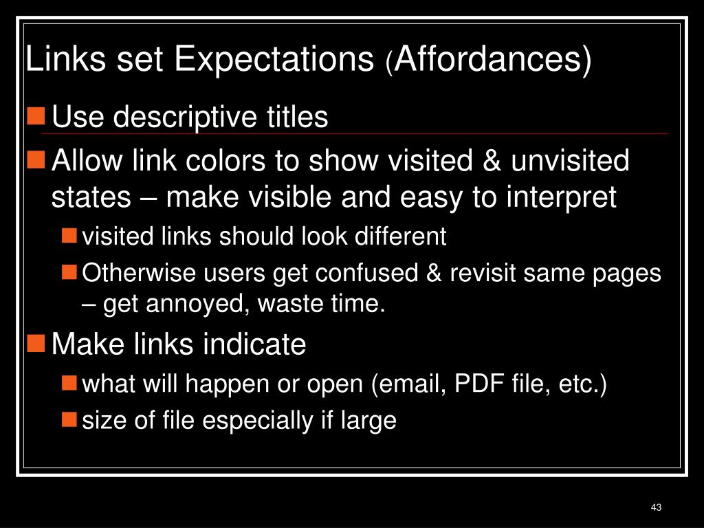 Links set Expectations