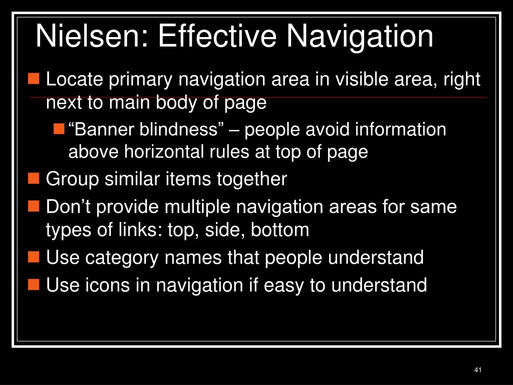 Nielsen: Effective Navigation